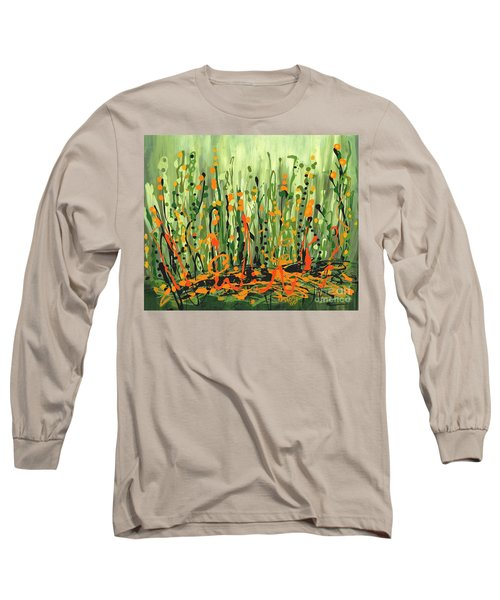 Long Sleeve T-Shirt featuring the painting Sweet Jammin' Peas by Holly Carmichael