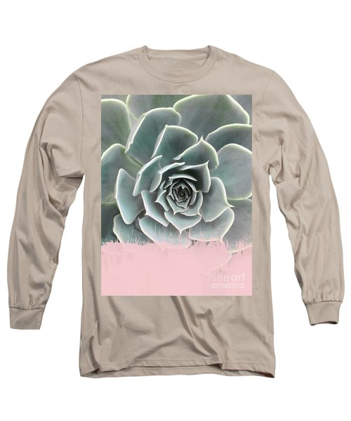 Sweet Pink Paint On Succulent Long Sleeve T-Shirt