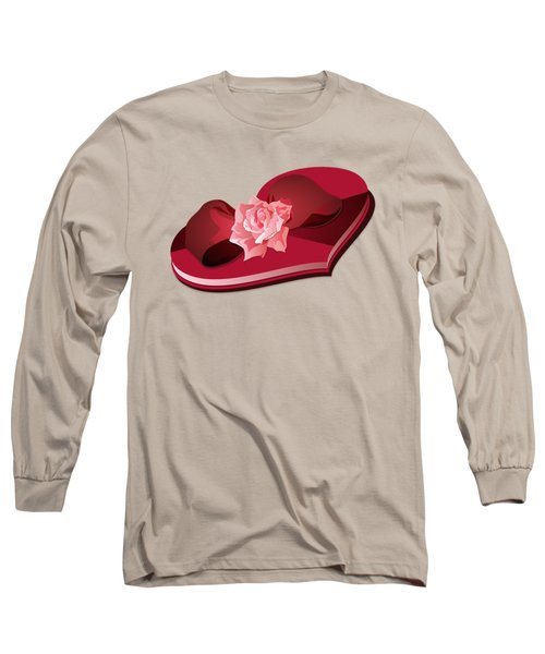 Sweetheart Candy Box With Pink Rose Long Sleeve T-Shirt by MM Anderson