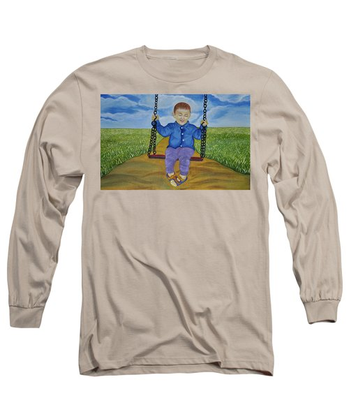 Long Sleeve T-Shirt featuring the painting Swing Of Childhood by Bliss Of Art