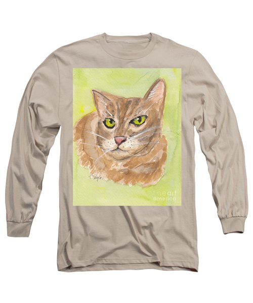 Long Sleeve T-Shirt featuring the painting Tabby With Attitude by Terry Taylor