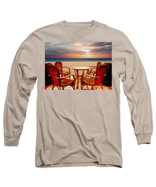 Table For Four At The Beach At Sunset Long Sleeve T-Shirt