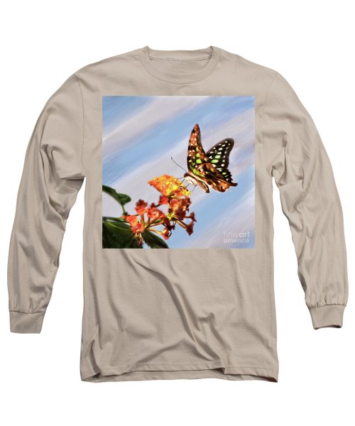 Tail Jay On Scarlet Milkweed Long Sleeve T-Shirt
