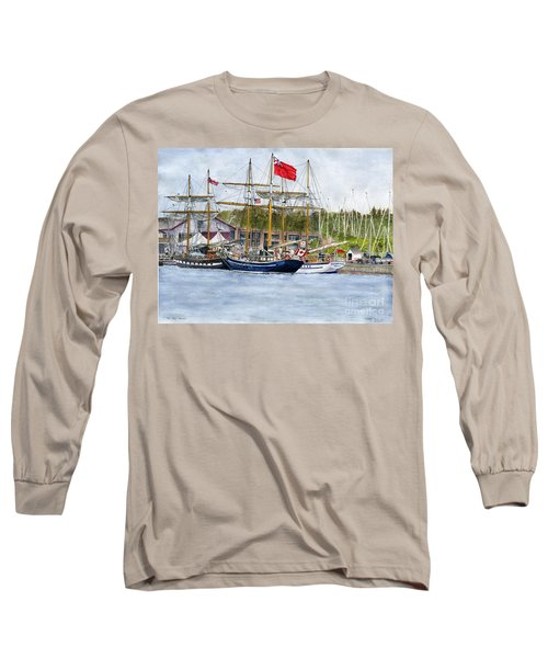 Long Sleeve T-Shirt featuring the painting Tall Ships Festival by Melly Terpening