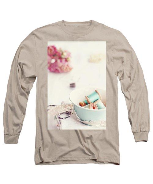 Teacup Full Of Vintage Spools Of Thread Long Sleeve T-Shirt