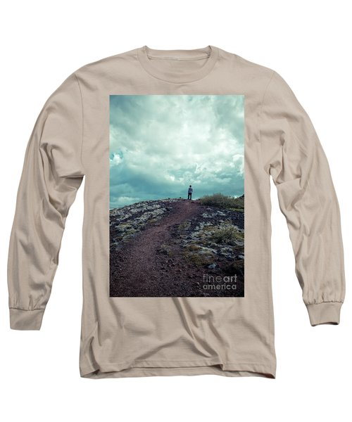 Long Sleeve T-Shirt featuring the photograph Teenager On A Hiking Trail In Iceland by Edward Fielding