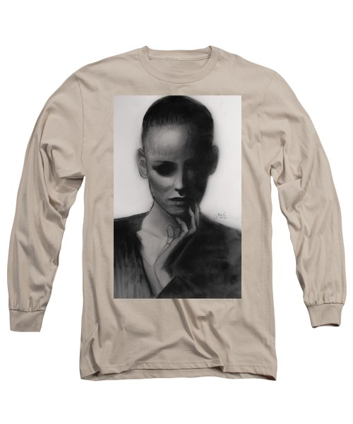 Long Sleeve T-Shirt featuring the painting Temporary Secretary by Jarko Aka Lui Grande