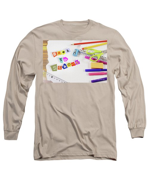 Text Back To School On A Textured White Canvas Framed With School Supplies Long Sleeve T-Shirt