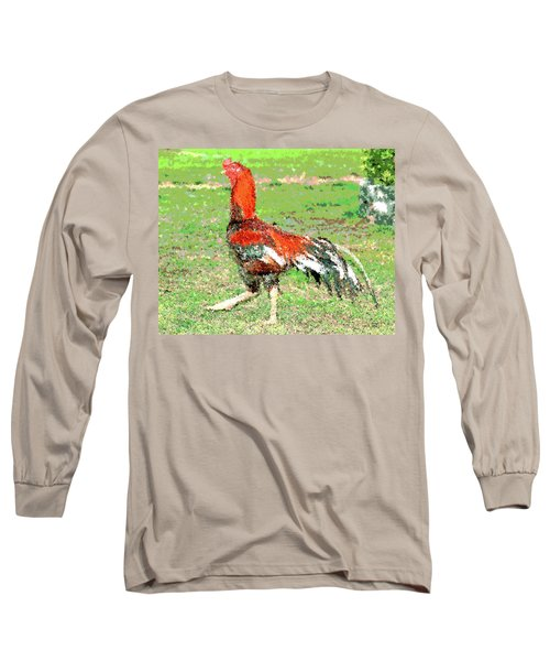 Long Sleeve T-Shirt featuring the mixed media Thai Fighting Rooster by Charles Shoup