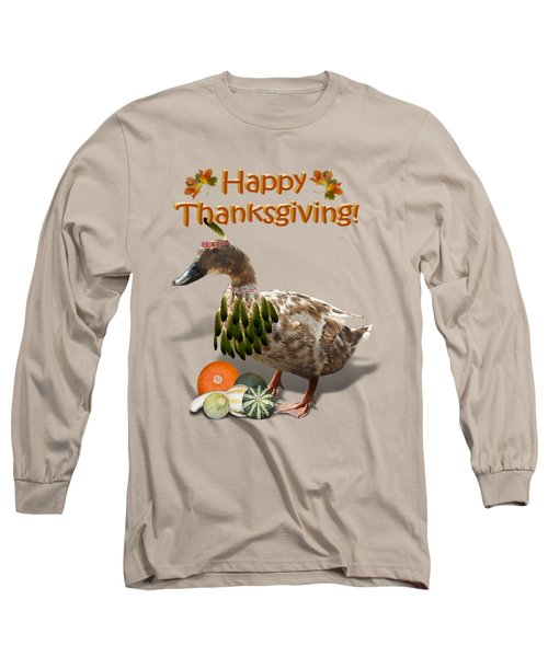Thanksgiving Indian Duck Long Sleeve T-Shirt by Gravityx9 Designs