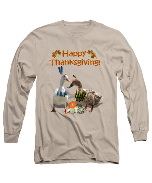 Thanksgiving Indian Ducks Long Sleeve T-Shirt by Gravityx9  Designs