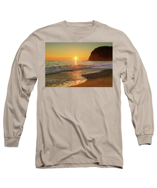 the beach and the Mediterranean sea in Montenegro in the summer at sunset Long Sleeve T-Shirt