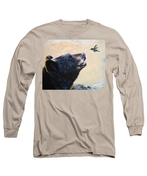 The Bear And The Hummingbird Long Sleeve T-Shirt by J W Baker
