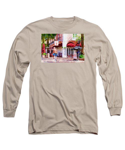 Long Sleeve T-Shirt featuring the painting The Biker by Judy Kay