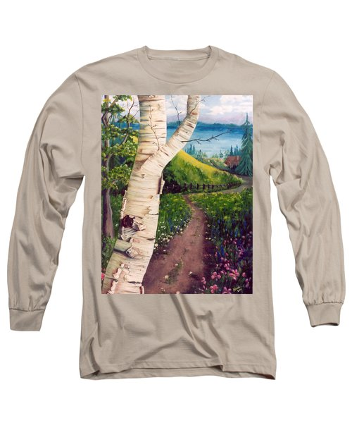 Long Sleeve T-Shirt featuring the painting The Birch by Renate Nadi Wesley