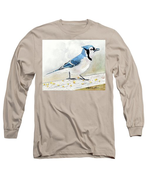 The Bluejay, Bird Painting, Bluejay Painting, Bird Print, Bird Painting Long Sleeve T-Shirt