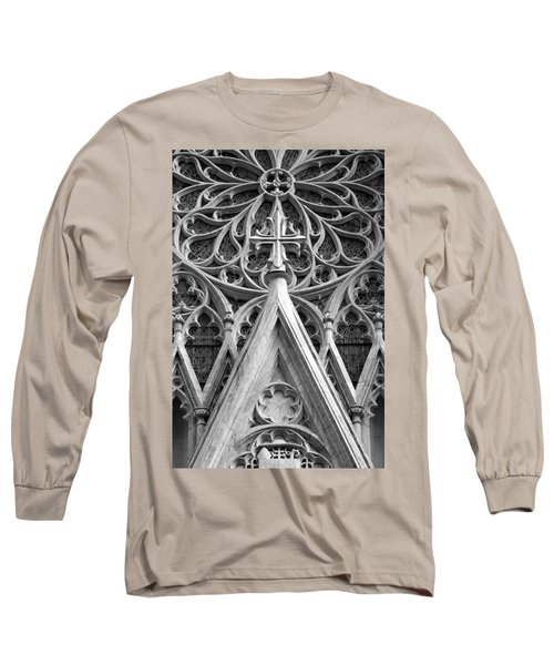 Long Sleeve T-Shirt featuring the photograph The Cathedral Of St. Patrick Close Up by Michael Dorn