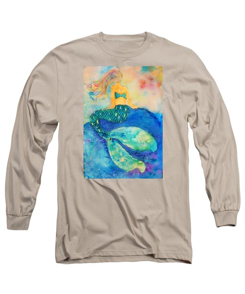 The Contemplation Of A Mermaid Long Sleeve T-Shirt by Ann Michelle Swadener