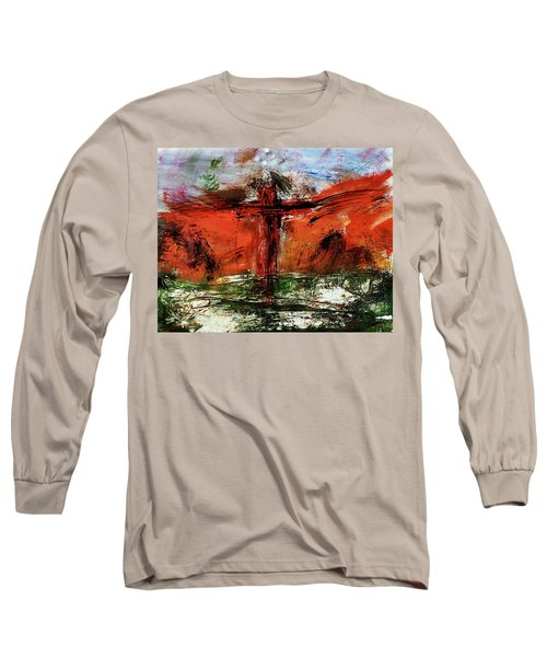 Long Sleeve T-Shirt featuring the mixed media The Crucifixion #1 by Michael Lucarelli