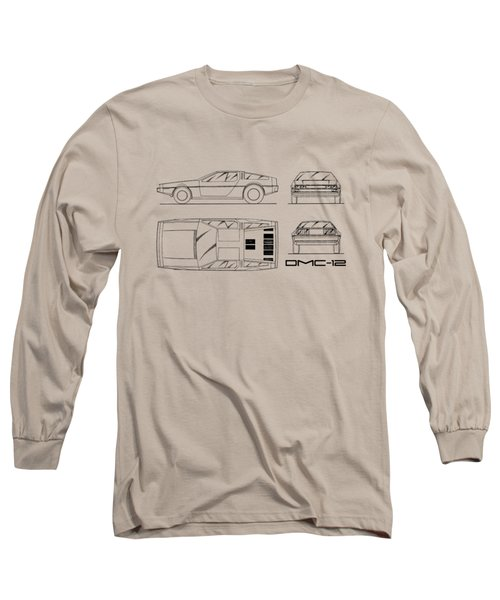 The Delorean Dmc-12 Blueprint - White Long Sleeve T-Shirt by Mark Rogan
