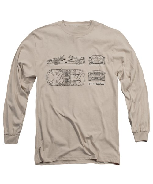 The F430 Blueprint - White Long Sleeve T-Shirt by Mark Rogan