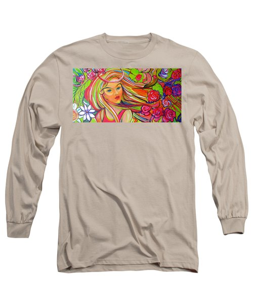 The Girl With The Flowers In Her Hair Long Sleeve T-Shirt