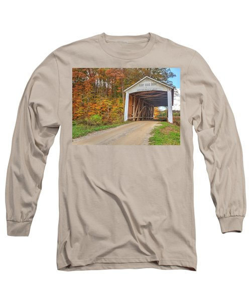 Long Sleeve T-Shirt featuring the photograph The Harry Evans Covered Bridge by Harold Rau