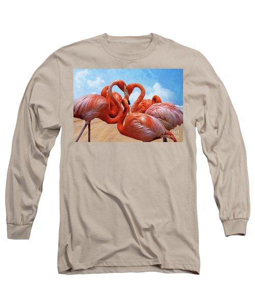 The Heart Of The Flamingos Long Sleeve T-Shirt by John Kolenberg
