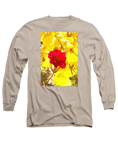 Long Sleeve T-Shirt featuring the photograph The Last Rose Of Autumn by Anastasia Savage Ealy