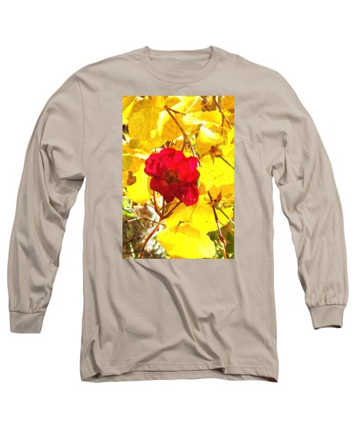 Long Sleeve T-Shirt featuring the photograph The Last Rose Of Autumn II by Anastasia Savage Ealy