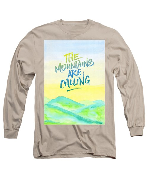 The Mountains Are Calling Yellow Blue Sky Watercolor Painting Long Sleeve T-Shirt