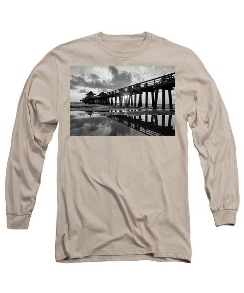 Naples Pier At Sunset Naples Florida Black And White Long Sleeve T-Shirt