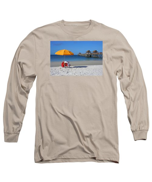 Long Sleeve T-Shirt featuring the photograph The Naples Pier by Robb Stan