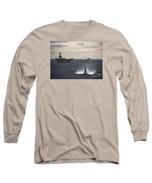 The Nimitz-class Aircraft Carrier Uss Carl Vinson And A Submarine Long Sleeve T-Shirt