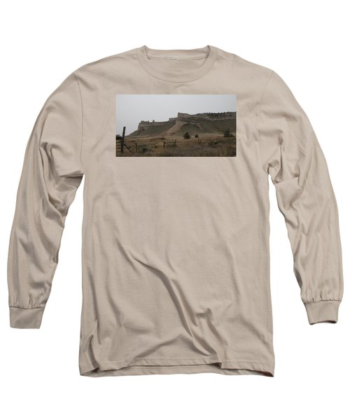 Long Sleeve T-Shirt featuring the photograph The Oregon Trail Scotts Bluff Nebraska by Christopher Kirby
