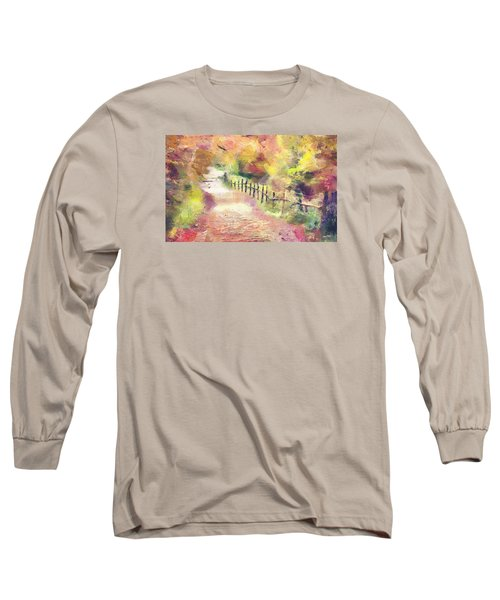 Long Sleeve T-Shirt featuring the painting The Path In Autumn by Wayne Pascall