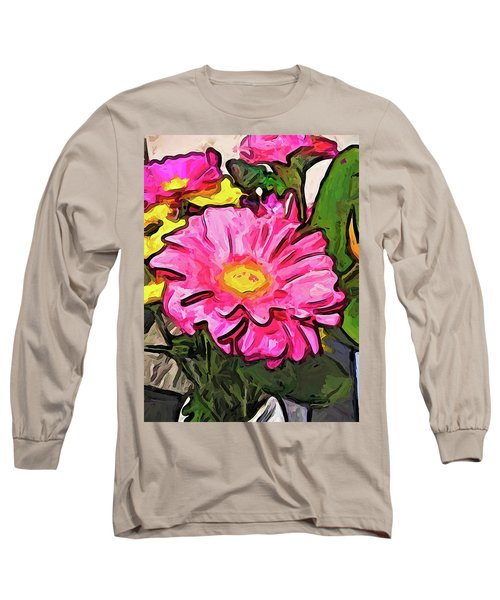 The Pink And Yellow Flowers With The Big Green Leaves Long Sleeve T-Shirt