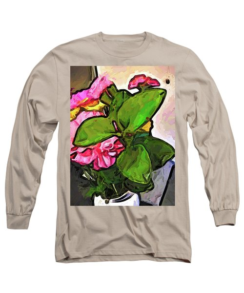 The Pink Flowers Behind The Green Leaves Long Sleeve T-Shirt