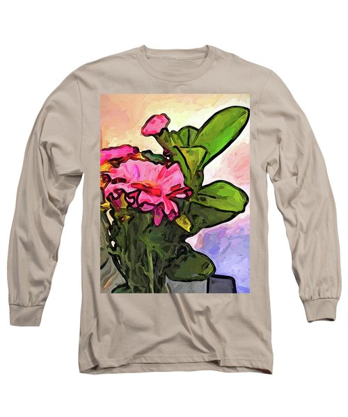 The Pink Flowers On The Left With The Green Leaves Long Sleeve T-Shirt