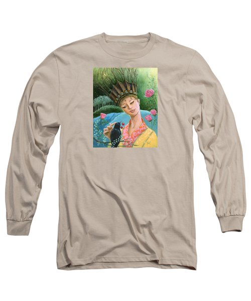 Long Sleeve T-Shirt featuring the painting The Princess And The Crow by Terry Webb Harshman