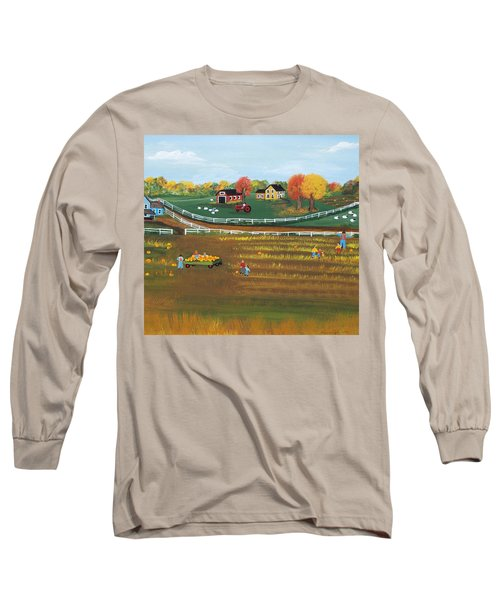 The Pumpkin Patch Long Sleeve T-Shirt by Virginia Coyle