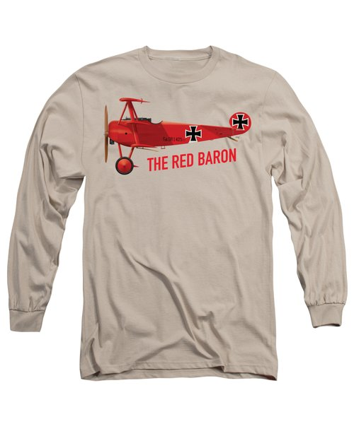 The Red Baron's Fokker Dr.1 - Side Print Long Sleeve T-Shirt