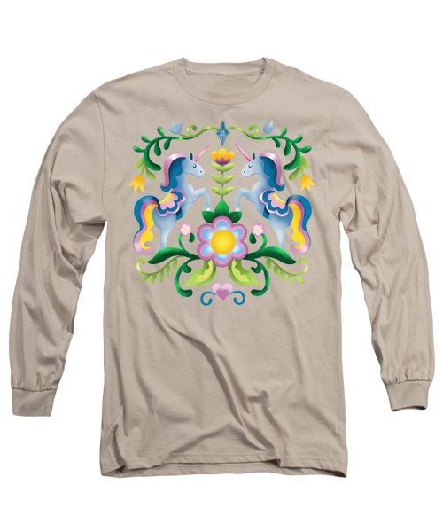The Royal Society Of Cute Unicorns Light Background Long Sleeve T-Shirt
