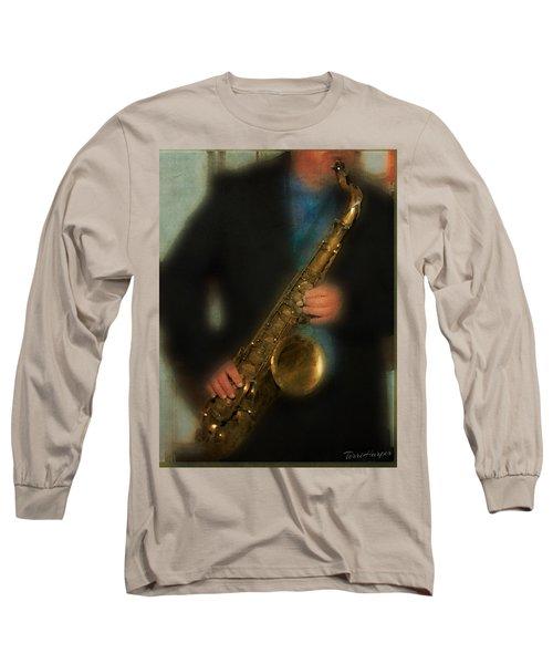 The Sax Player Long Sleeve T-Shirt by Terri Harper