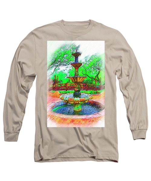 The Spanish Courtyard Fountain Long Sleeve T-Shirt by Kirt Tisdale