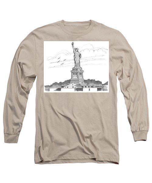The Statue Of Liberty Lighthouse Long Sleeve T-Shirt