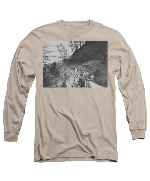 Long Sleeve T-Shirt featuring the drawing The Summit by Jane Autry