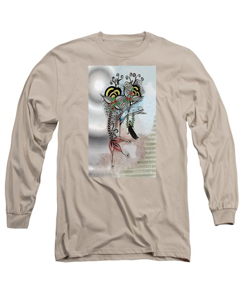 Long Sleeve T-Shirt featuring the drawing The Swing Colorful Ink Drawing Art By Saribelle by Saribelle Rodriguez