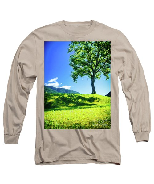 Long Sleeve T-Shirt featuring the photograph The Tree On The Hill by Silvia Ganora