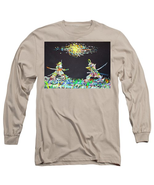 Long Sleeve T-Shirt featuring the painting The Two Samurais by Fabrizio Cassetta